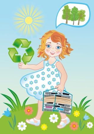 niños reciclando: Recogida de papel viejo en el proceso para el rescate de la ecología Foto de archivo