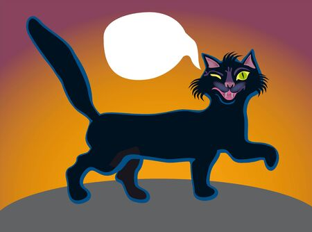 An independent impudent black cat goes for a walk at night Stock Photo - 12273687