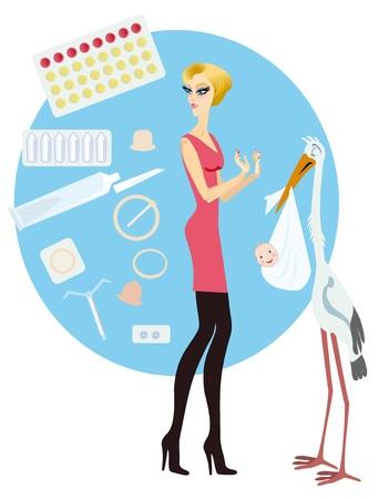 birth control: Una ni�a elige los m�todos de control de la natalidad