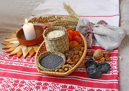 Small basket with wheat porridge which is prepared on Christmas Eve Kutya is a traditional food on Christmas Eve.