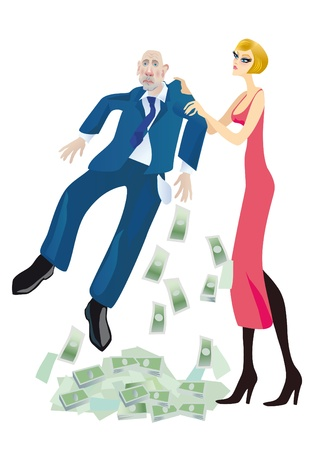 A young beautiful girl-blonde blackmails a businessman Stock Photo - 12273756