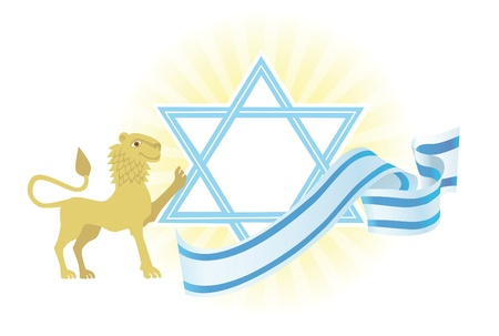Background with Star of David and Jerusalem lion Stock Photo - 12273755