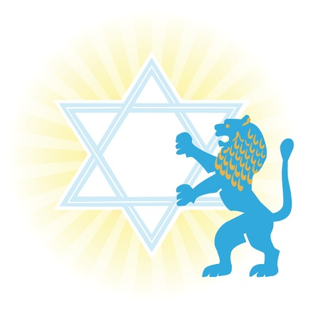 Background with Star of David and Jerusalem lion photo