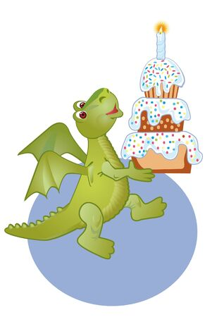 Congratulating on a birthday with a merry dragon and cake photo