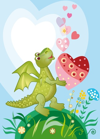 heart intelligence: Happy in love dragon with a heart