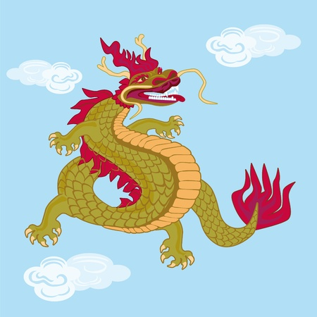The dark brown Chinese dragon on a sky background. Banco de Imagens