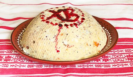 boyar: Easter kulich is prepared curd, dry fruit and nuts on the embroidered towel