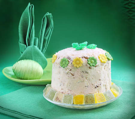Festive serving of easter table with serviettes and easter curd pie