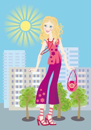 Una guapa rubia se encuentra en el traje de pantalones photo