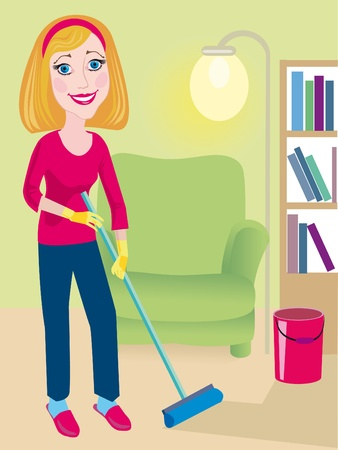floor standing: A young beautiful girl does the moist cleaning up at home