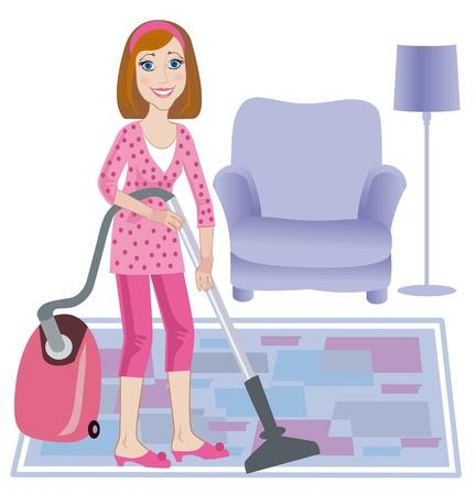 daily room: La giovane e bella donna sposata pulisce un tappeto