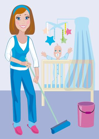A young beautiful mother does the moist cleaning up in a nursery photo