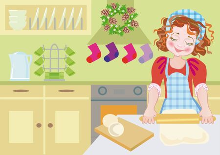 Illustration of a happy child cooking in Advent. Stock Illustration - 12686273