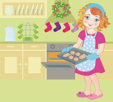Illustration of a happy child cooking in Advent. illustration