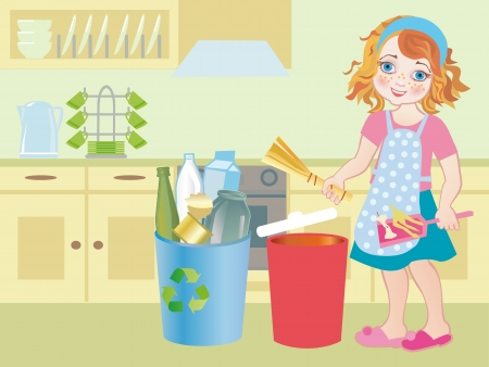 recoger: Muy joven la celebración de la papelera de reciclaje azul