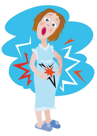 childbirth: Caucasian  mom - young woman holding her belly. She feel pains. Vector Illustration.