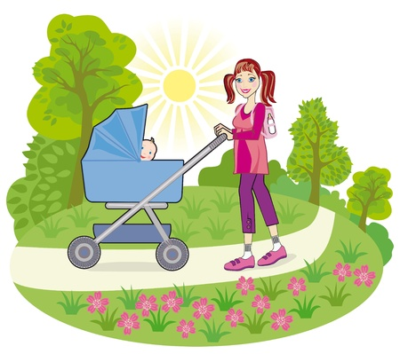 garden chair: Young happy mother with a baby in a pram on a walk in a public garden Stock Photo