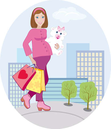 The pregnant goes out from child's shop Stock Photo - 12686185