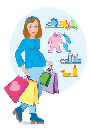 The pregnant goes out from childs shop photo