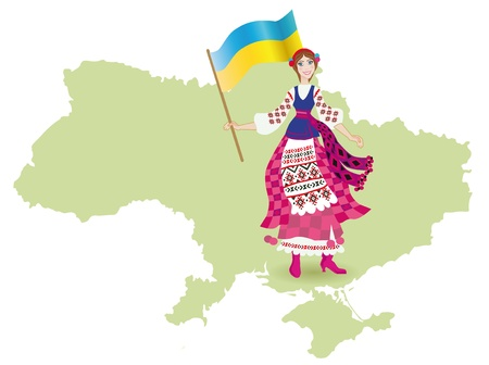 A  happy girl in Ukrainian national dress  on the Ukraine plan holds a flag photo