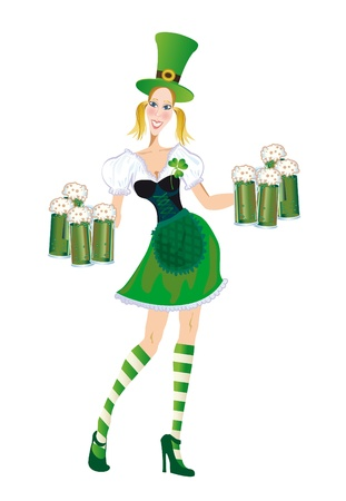 waitress with glasses of green beer in the day of Patricksday on a white background photo