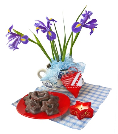 conflagrant: Irises in a flowerpot next to a conflagrant candle  on a white background are isolated Stock Photo