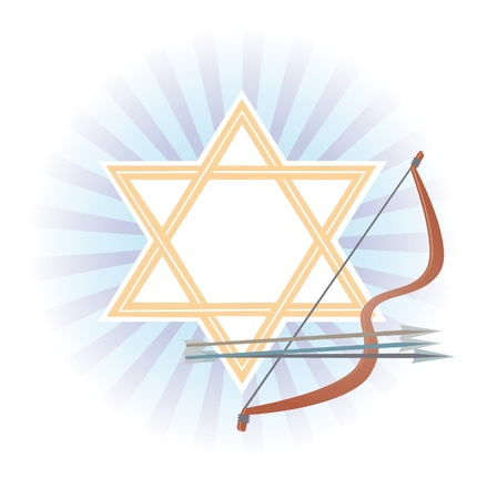 Symbolic articles of holiday Lag Ba-Omer on a background the star of David Stock Photo - 12686295