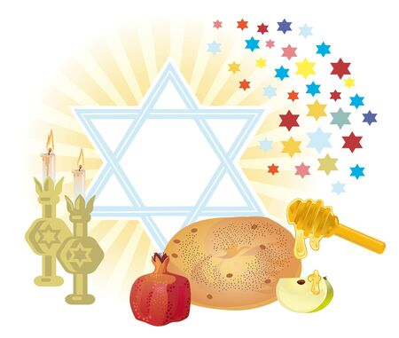 Background for congratulating on the Jewish holiday on of Rosh-hashanah photo