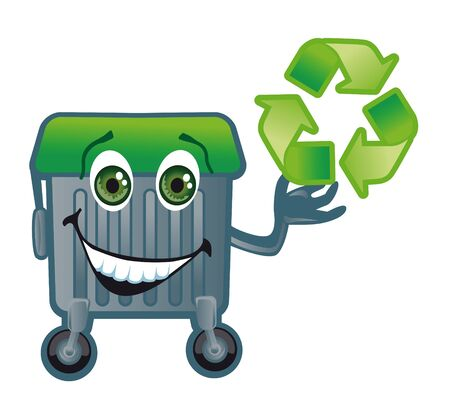A merry trash tank with a green lid holds the sign of the recycling