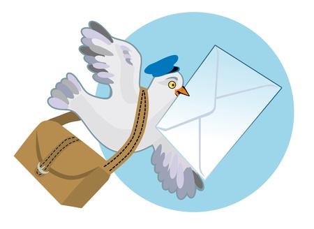 facteur: Pigeon voyageur avec un sac et une lettre dans un projet de loi