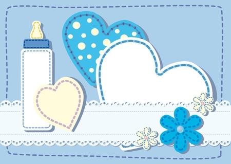nacimiento bebe: Nacimiento acolchado anuncio de la tarjeta para un niño Foto de archivo