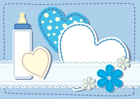 grzechotka: Narodziny pikowana karta ogłoszenie dla chłopca