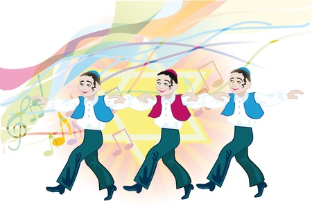 아이들은 유대인의 민속 춤을 춤 스톡 콘텐츠