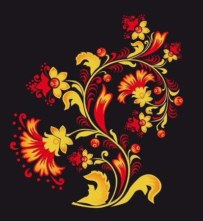 commercial painting: Ornament in style of Russian folk national tradition.