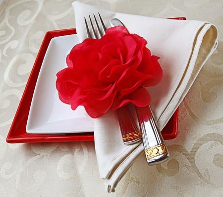 축제 테이블의 로맨틱 등록