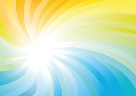 무지개 빛깔의 나선형 노란색과 파란색 추상적 인 배경