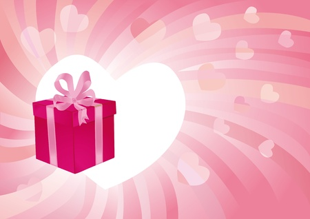 Abstract romantic pink background with a gift photo
