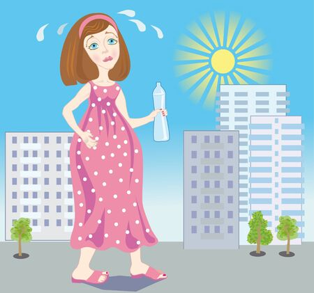 hardly: Illustration of expectant mother which hardly goes on a hot city