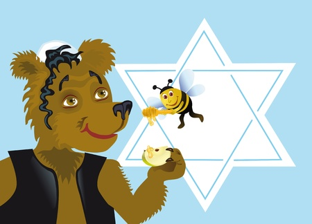Let New Year be sweet   traditional wish on on  Rosh Hashanah  Honey and apples - is a symbol of this holiday Vector