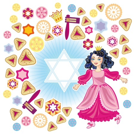 david star: Background for congratulating on a merry holiday Purim Illustration