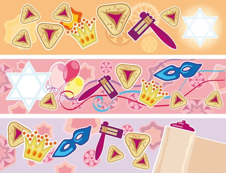 Set of three banners to the Jewish merry holiday Purim Illustration