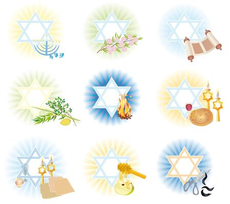 Set is 9 symbols icons of the Jewish holidays photo