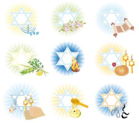 seder: Set is 9 symbols icons of the Jewish holidays