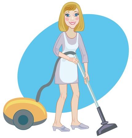 vacuuming: Allegro giovane cameriera di coscienza con un aspirapolvere Vettoriali