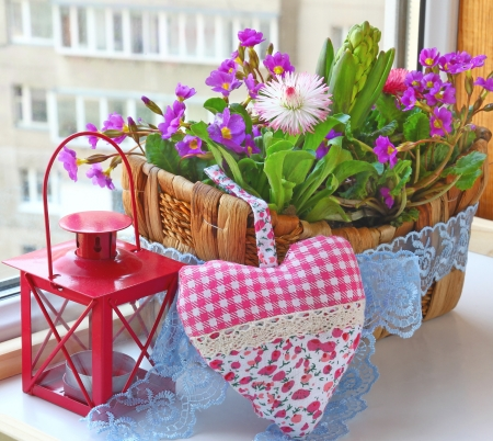 Decoration of balcony hyacinths bellis and primrose Spring flowers on a balcony Stock Photo