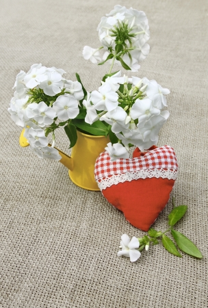 wateringcan: Rural still life summer bouquet from white phloxes in a yellow watering-can and tectile heart on a canvas table Stock Photo