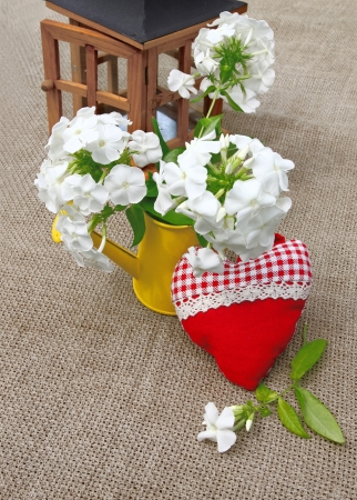 Romantic bouquet from white phloxes in a yellow watering-can and red heart on a canvas table Stock Photo