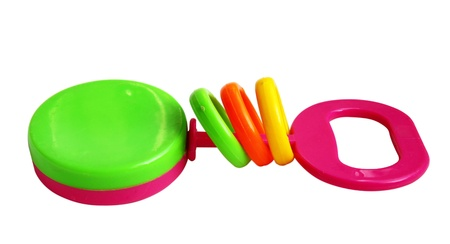 Colorful Baby Rattle it is isolated on a white background