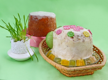 Traditional treating on Easter is &quot,kulich&quot, from the pressed curd and stove Stock Photo - 16293905