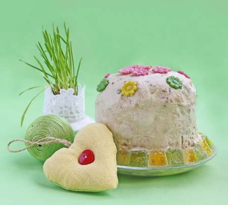 consuetude: The traditional easter treating is urgent kulich Stock Photo